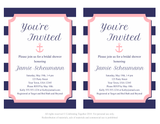 DIY editable nautical anchor bridal shower invitation - Celebrating Together