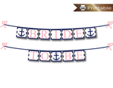 pink and navy bride to be banner - nautical anchor bridal shower decoration - Celebrating Together
