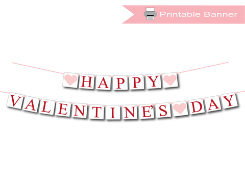 red and pink printable happy valentine's day banner - Celebrating Together
