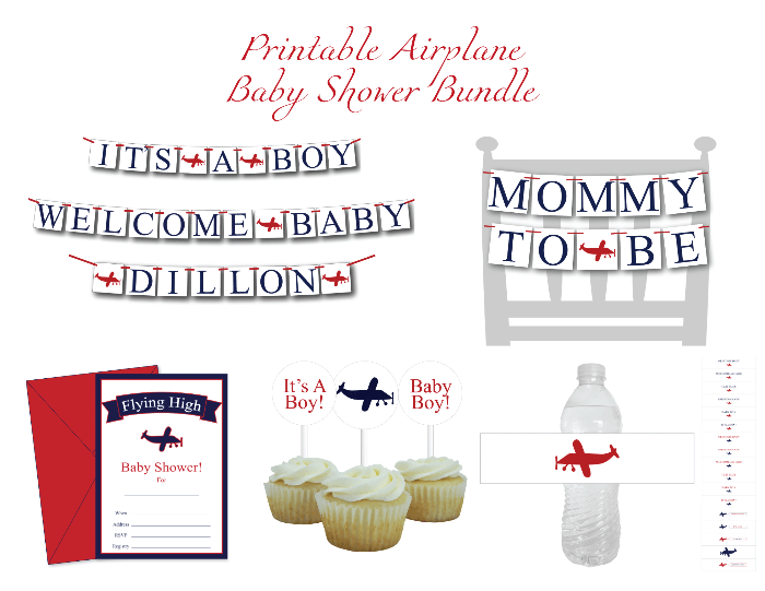 printable plane baby shower decor kit - Celebrating Together
