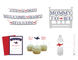 diy aviation baby shower decorations for boy - Celebrating Together - banners, invitations, cupcake toppers and water bottle labels - Celebrating Together