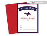 flying high printable aviation birthday invitations - Celebrating Together