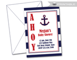 printable ahoy its a boy baby shower invitations - anchor baby shower invites - Celebrating Together
