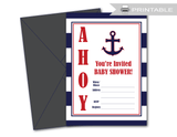 printable ahoy anchor baby shower invites - Celebrating Together