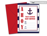 nautical printable blank baby shower invitations - Celebrating Together