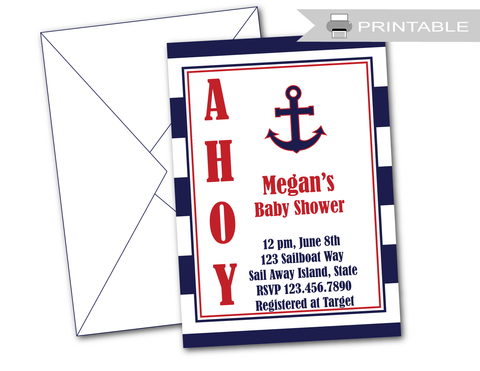 printable nautical baby shower invitations - Celebrating Together