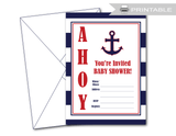 DIY baby shower invitations - blank nautical baby shower invites - Celebrating Together