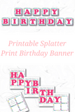 printable art party happy birthday banner - Celebrating Together