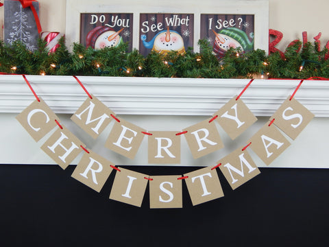 Merry christmas banner - holiday home decor - Celebrating Together