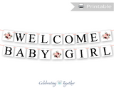 printable welcome baby girl banner - DIY floral baby shower decorations - Celebrating Together