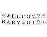 DIY welcome baby girl sign - printable watercolor flower baby shower decorations - Celebrating Together