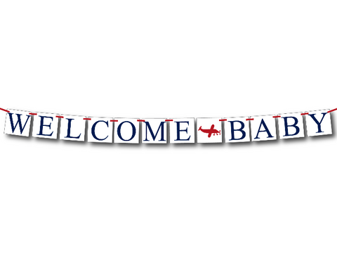 plane welcome baby banner - airplane baby shower decoration - Celebrating Together