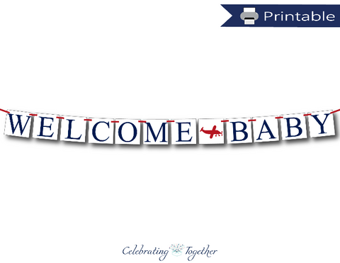 printable welcome baby banner for aviation baby shower decoration - Celebrating Together