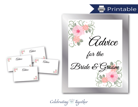 printable advice for the bride and groom sign and advice cards - DIY bridal shower games and wedding quest activities - Celebrating Together