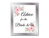 printable advice for the bride to be signs - bridal shower games and bridal shower activities - Celebrating Together