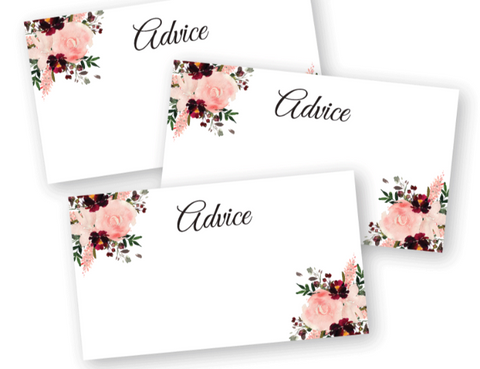 printable watercolor floral advice cards - Celebrating Together