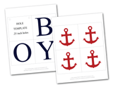 printable letters and printable anchors for DIY baby shower banner - Celebrating Together