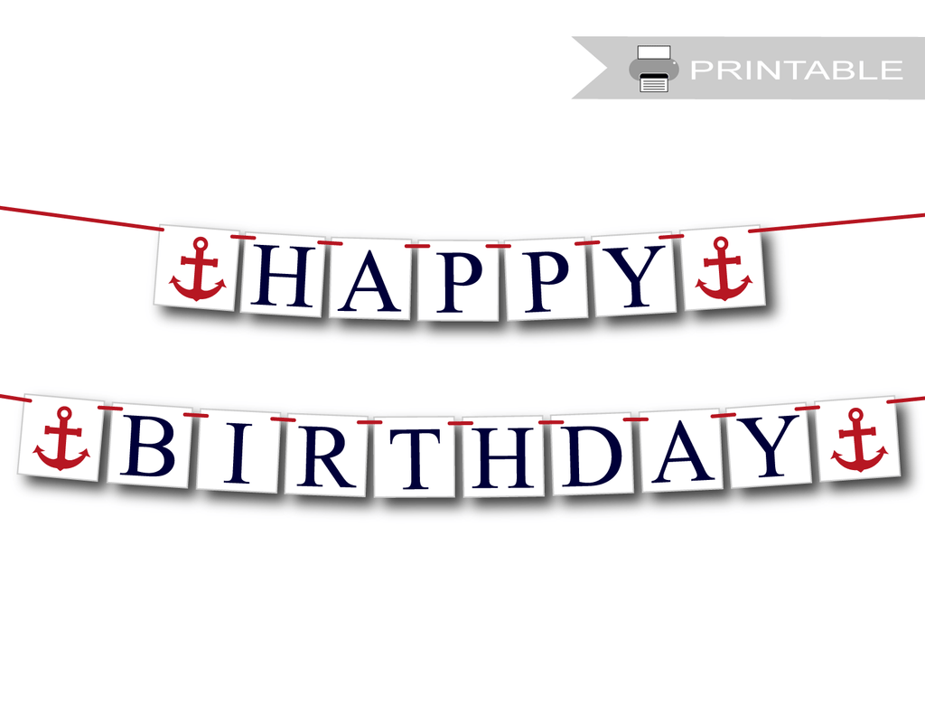 picture relating to Printable Happy Birthday Banners titled Printable Nautical Satisfied Birthday Banner