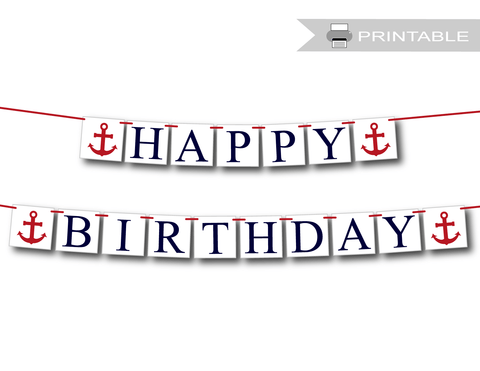 Printable Nautical Happy Birthday Banner