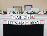 DIY baby shower banner - printable ahoy it's a boy garland - Celebrating Together
