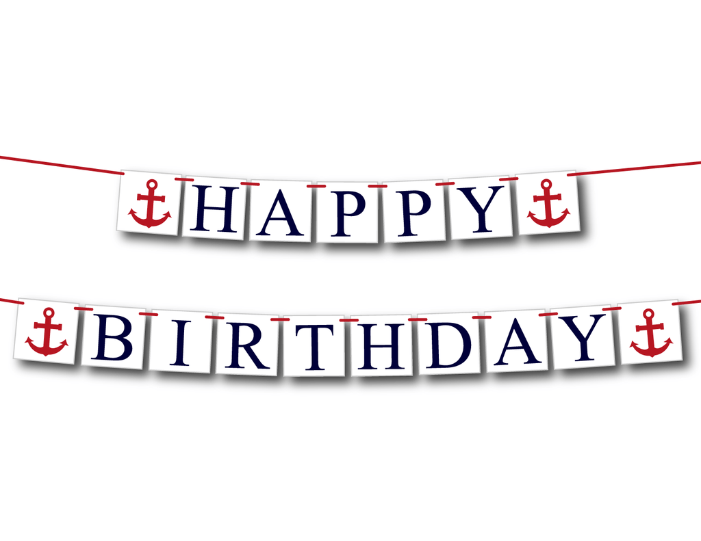 nautical happy birthday banner - Celebrating Together