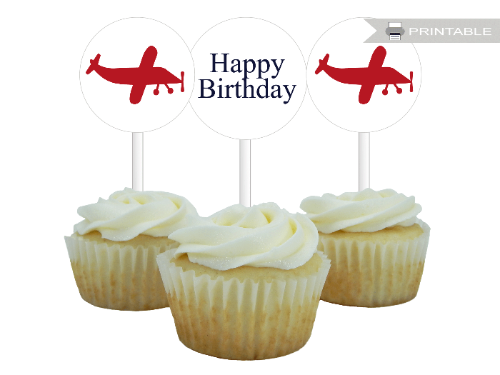 printable plane cupcake toppers - Celebrating Together
