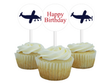 printable aviation cupcake toppers - diy happy birthday party decor - Celebrating Together