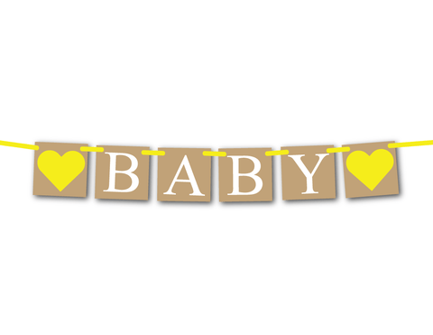 rustic baby shower banner in yellow - Celebrating Together