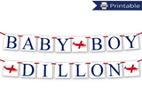 baby boy and custom name banner bundle - Celebrating Together
