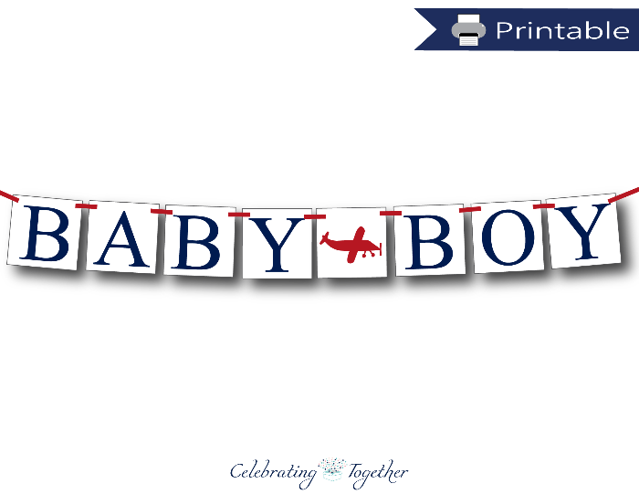 printable baby boy banner - airplane baby shower decorations - Celebrating Together