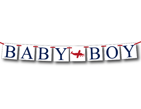 plane baby shower banner - airplane baby shower decoration - Celebrating Together