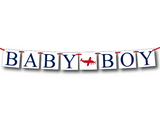 DIY airplane baby boy banner - printable baby shower decor - Celebrating Together
