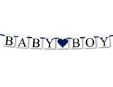 navy baby boy banner - baby shower decorations - Celebrating Together