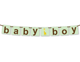 printable giraffe baby boy banner - Celebrating Together