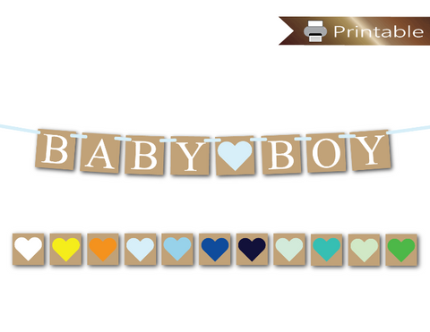 printable rustic baby boy banner - diy baby shower decoration - Celebrating Together