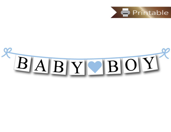 printable baby boy banner - sky blue baby shower decoration - Celebrating Together