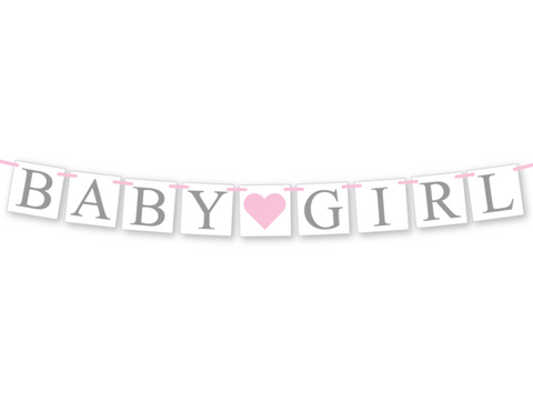 printable baby girl banner - baby shower decoration - Celebrating Together