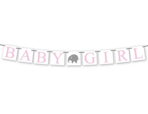 elephant baby girl sign - zoo animal baby shower banner - Celebrating Together