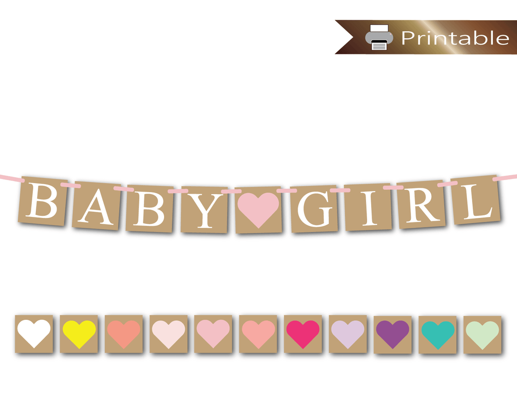 graphic regarding Printable Baby Shower Decorations referred to as Printable rustic little one lady banner