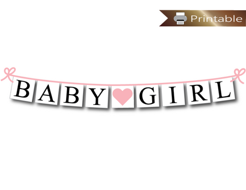printable baby girl banner - baby pink baby shower decoration - Celebrating Together