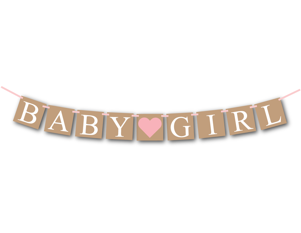rustic baby girl banner - girls baby shower decoration - Celebrating Together
