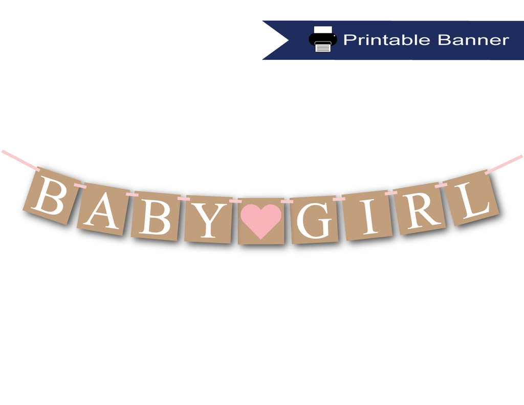 printable rustic baby girl banner - Celebrating Together