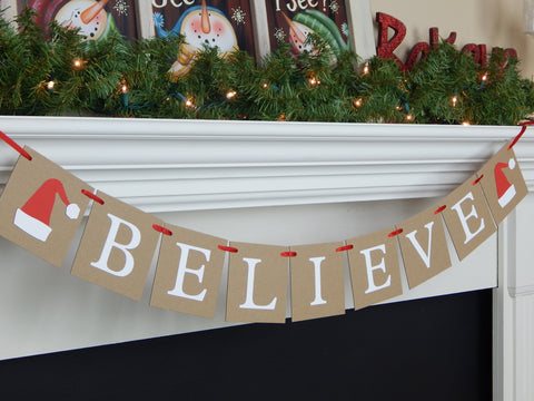rustic believe banner with santa hats accents - Christmas decoration - Celebrating Together