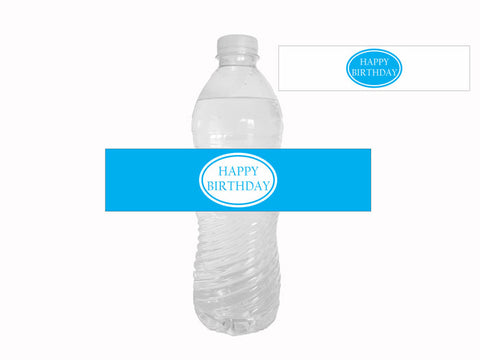 printable blue happy birthday water bottle labels - Celebrating Together