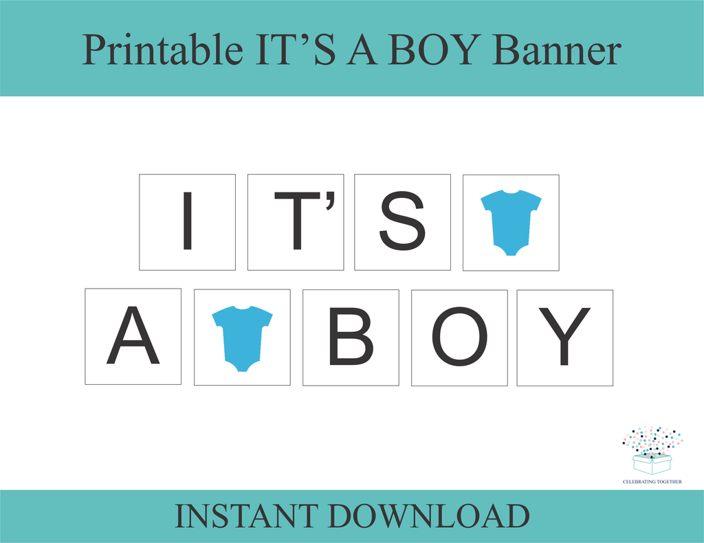 picture regarding Baby Shower Banner Printable referred to as Printable Onesie Its A Boy Banner