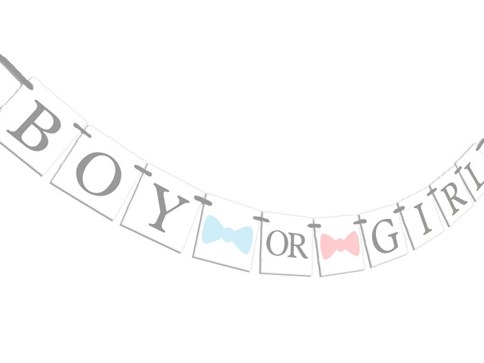 Boy or Girl, Bow or Bow Tie Gender Reveal Banner - Celebrating Together