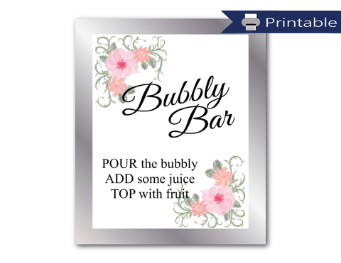 printable bubbly bar sign - DIY mimosa bar bridal shower decorations - Celebrating Together