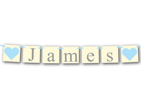 boys baby name banner - shabby chic baby shower decoration - Celebrating Together