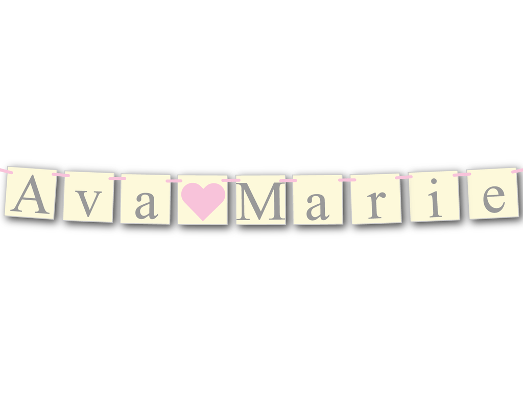 personalized baby name banner - shabby chic baby shower decoration - Celebrating Together