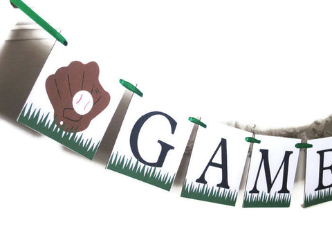 baseball glove on game day banner for birthday party - Celebrating Together